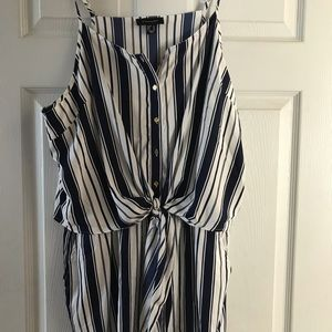 Other - Romper navy blue w/White stripes